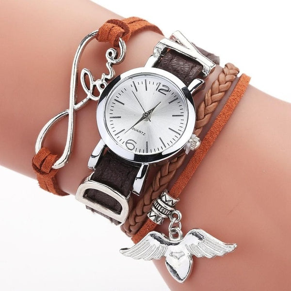 Duoya Brand Women Luxury Silver Heart Pendant Leather Belt Wrist Watch
