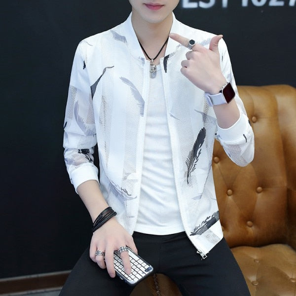 Summer Thin Jackets Men Breathable Slim Fit Bomber Jacket Sun