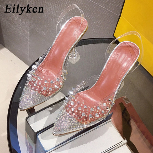 New Gold  Silver PVC Transparent Rivet Diamond Pumps Sandals Perspex Heel Pointed Toe Crystal Silver Wedding Pumps