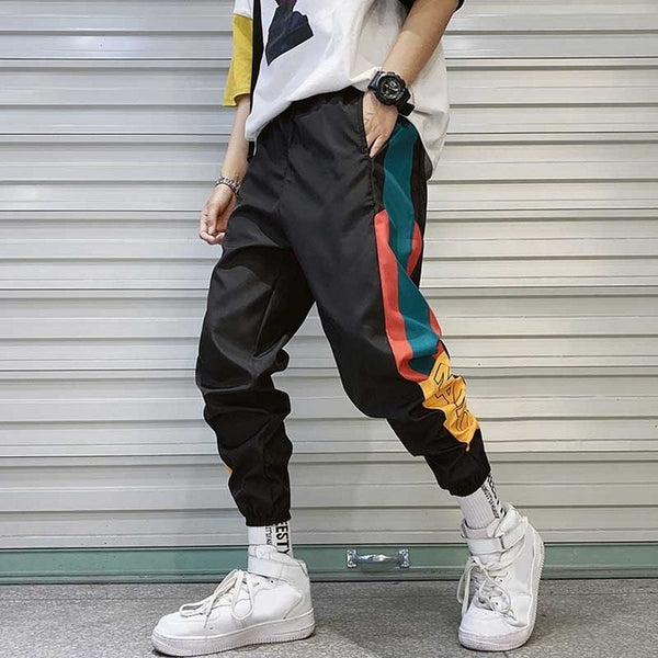 Hip Hop Streetwear Men's Splice Joggers Pants Fashion Men Casual Cargo Pant Trousers High Street Elastic Waist