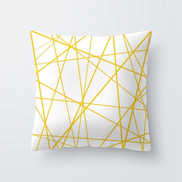 Simple Geometric line style polyester peach skin throw pillow covers Soft fabric