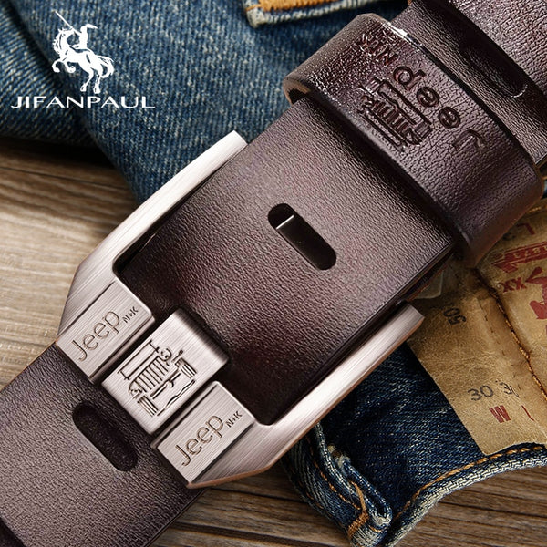 Men's genuine leather luxury brand belt high quality alloy pin buckle