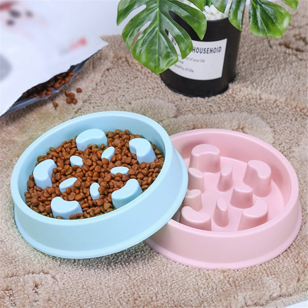 Useful Anti Choke Pet Dog Feeding Bowls Plastic Snail Shape Slow down Eating Food