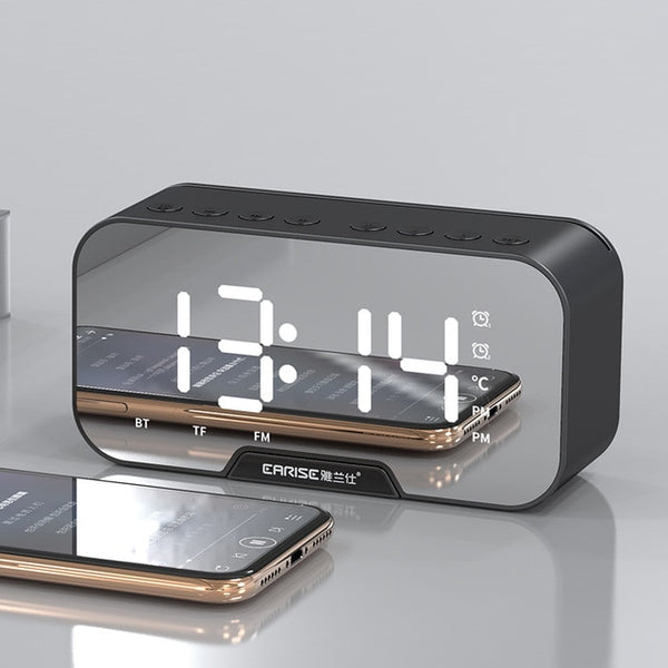 Mirror LED Alarm Clock FM Radio Wireless Bluetooth Music Player Digital Table Clock with Dual Alarm Mode Electronic Desk Watch