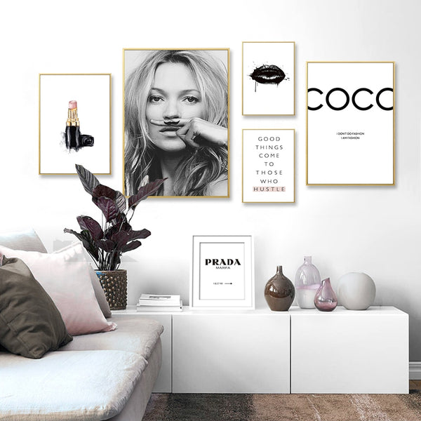 Abstract Modern Fashion Make Up Canvas Painting Black White Salon Posters