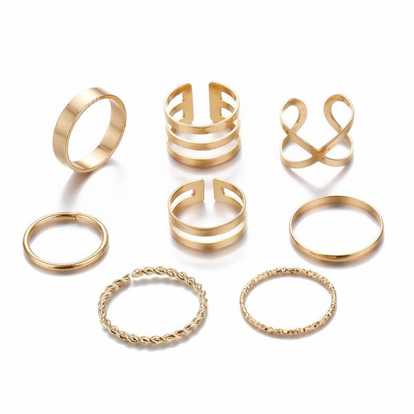 Original Design Gold Color Round Hollow Geometric Rings Set For Women Fashion Cross Twist Open Ring