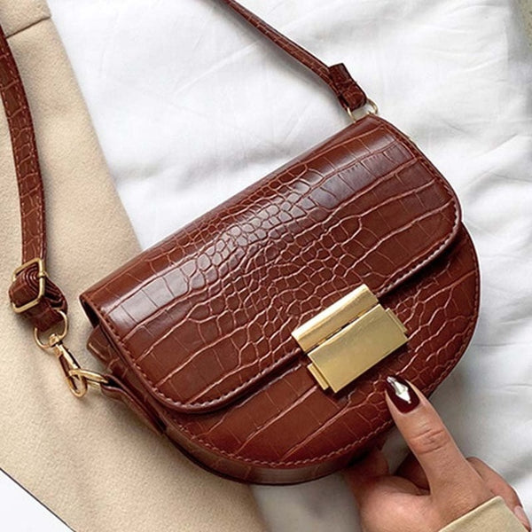 Luxury Fashion Women Cross body Crocodile Semicircle Saddle Bags