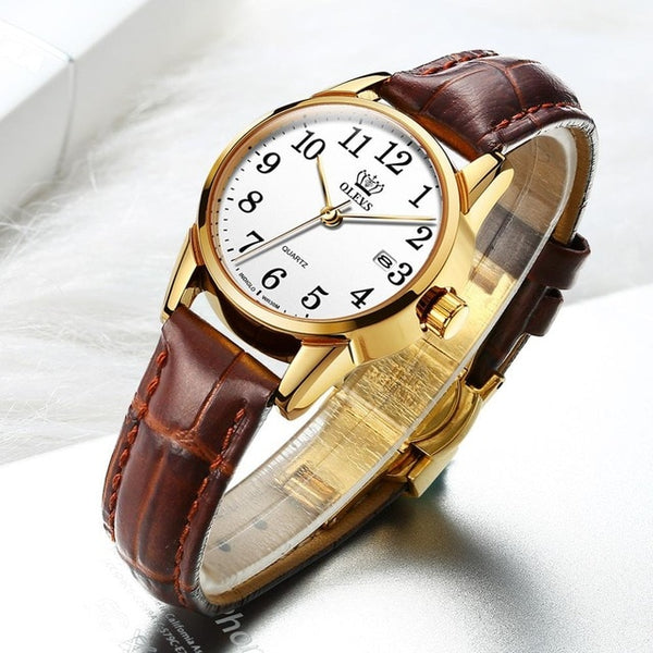 Fashion Casual Luxury Genuine Brown Leather Waterproof Wristwatch