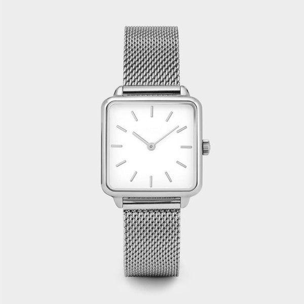Stylish Gold Silver Dial Square Women Watch Steel Watchband