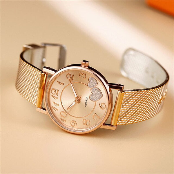 Fashion Women Watches Ladies Watch  Heart Dial Silicone Mesh Belt
