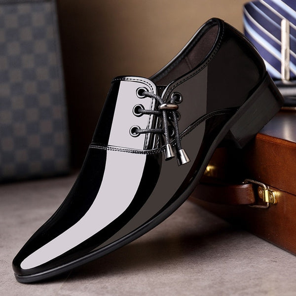 Dress Italian Leather Shoes Slip On Fashion Men Leather Moccasin Glitter Formal Male Shoes