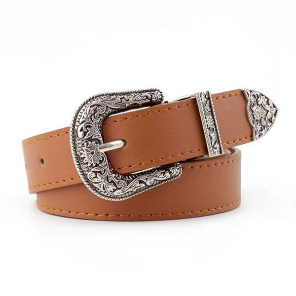 Black Leather Women Metal Heart Buckle Waist Belt Vintage Western Carved Waistband Cinturon Mujer