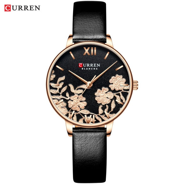 CURREN Women Top Brand Luxury Stainless Steel Strap Rose Wristwatch
