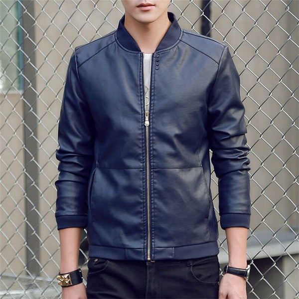 Men's leather Jacket PU Fashion Spring Autumn Jackets Faux Leather Slim Fit Male