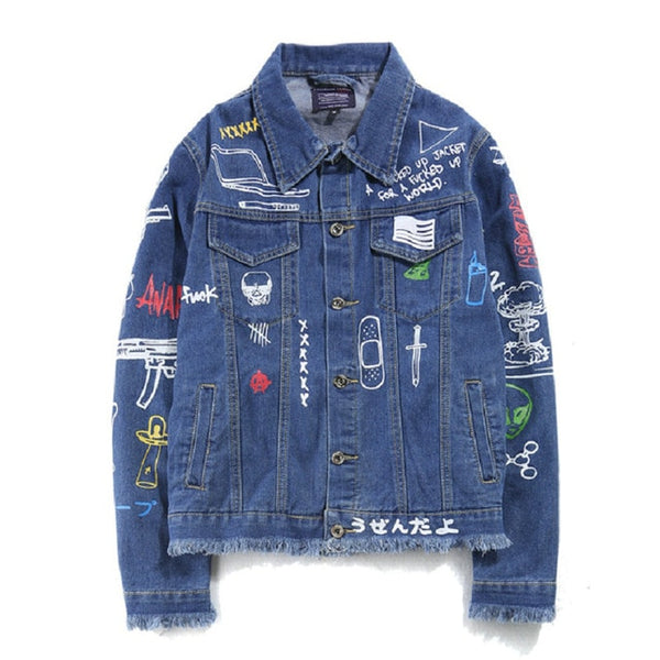 Hip Hop Fashion Printed Jeans Jacket Men Cotton Casual Streetwear Short Style