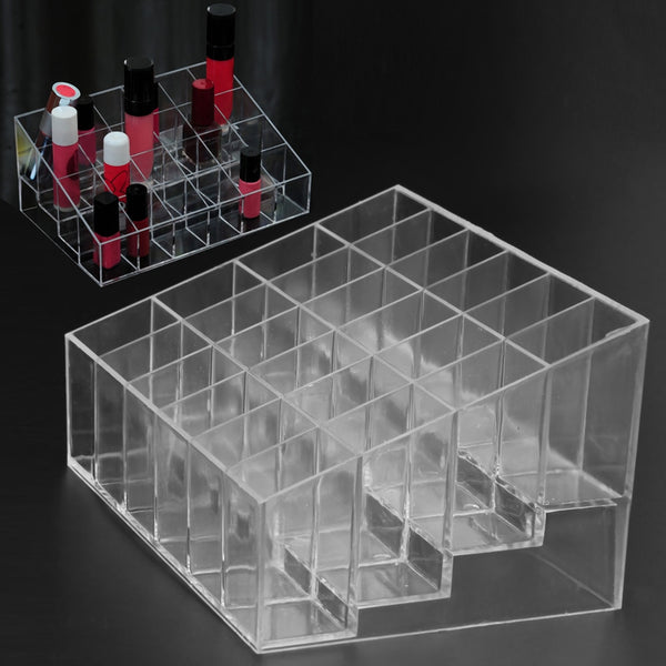 Clear Acrylic 24 Grid Makeup Organizer Storage Box Lipstick Nail Polish