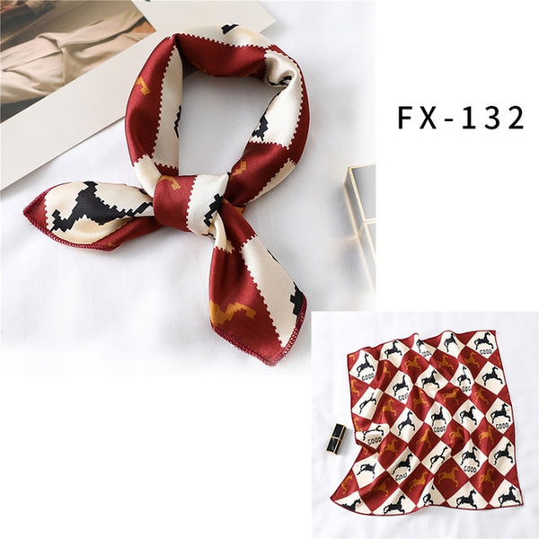 Square Silk Scarf Women Fashion Print Small Neck Scarfs Office Lady Hair Band Foulard Hand Kerchief Female