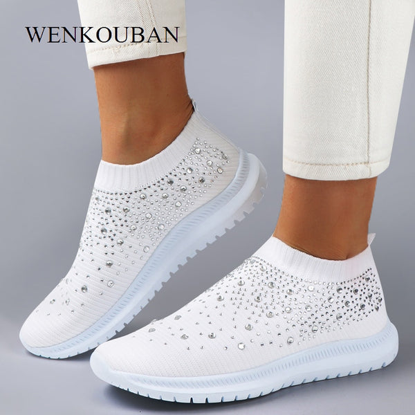 Women Flats Sneakers Crystal Fashion Bling Sneakers