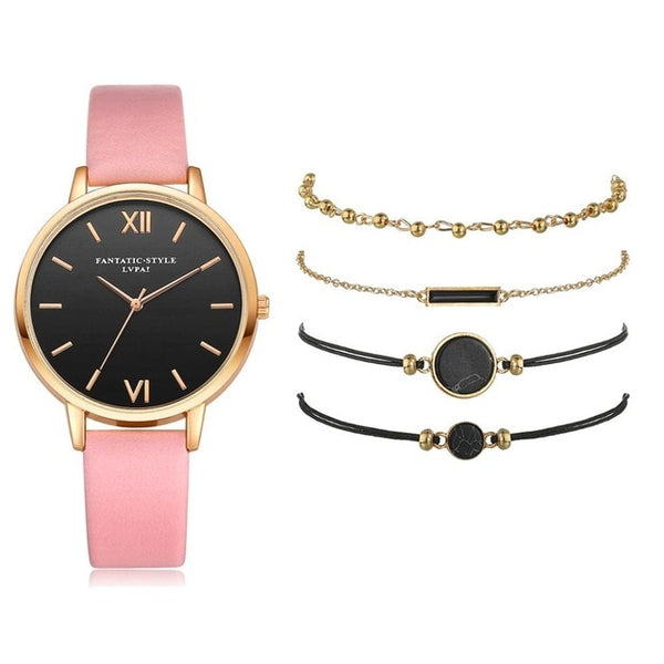 Watch Set Women 5pcs Woman Quartz Wristwatch Leather Ladies Bracelet