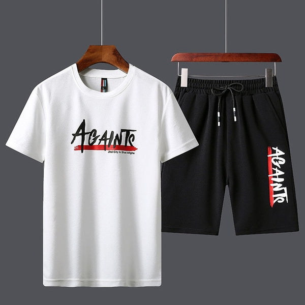 Men's sport track suits Tshirts Shorts Sets Polyester Fashioin tracksuits T-shirt  Bermuda Masculina Board Shorts