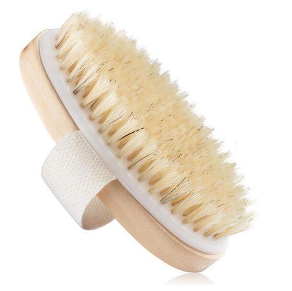TREESMILE Exfoliating Wooden Body Massage Shower Brush Natural Bristle Bath Brush SPA Woman Man Skin Care Dry Body Brush D40