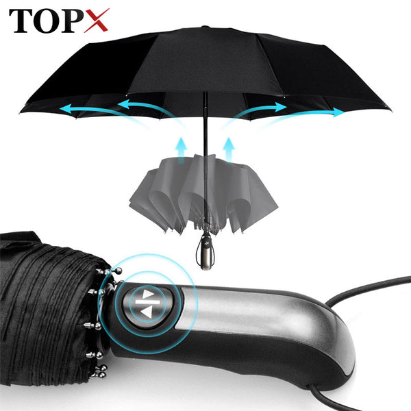 Wind Resistant Fully-Automatic Umbrella Rain Women For Men 3Folding