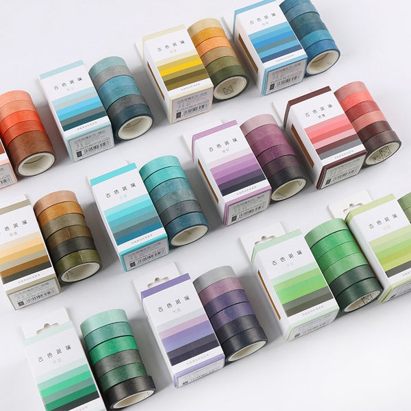6pcs/pack Masking Washi Tape Set Vintage Color Decorative Sticker