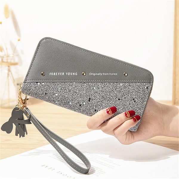 2020 Fashion Sequined Patchwork Glitter Wallet for Women Long PU Leather Wallet