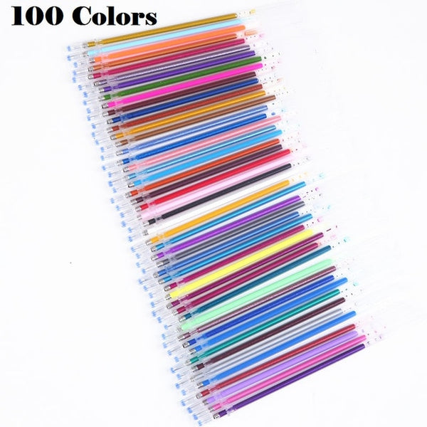 100PCS Multicolour Ballpoint Gel Pens Refill Set Colorful Painting Drawing Pen Shell Cover