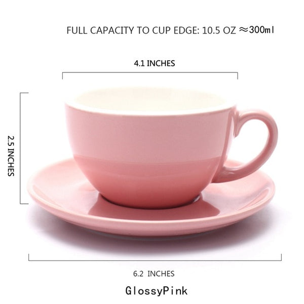 150/220/300ml Thick Body Ceramic Coffee Cup and Saucer for Flat White Latte Cup