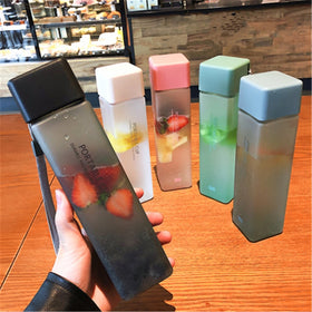 New Square Frosted Plastic Water Bottle Portable Transparent Bottle Fruit Juice Leak-proof
