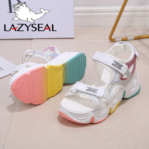 LazySeal Platform Sandals Female Women Thick Bottom Rainbow Sole Wedge