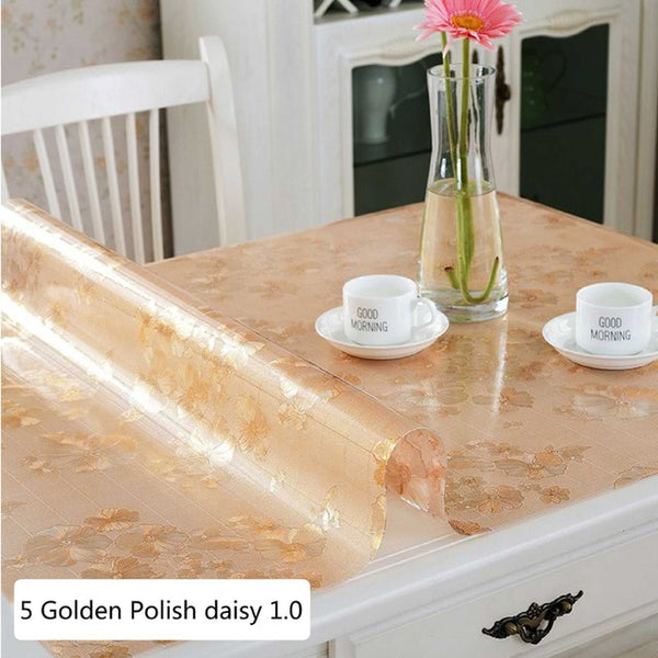 PVC Transparent Tablecloth Soft Glass Rectangle Waterproof table Oil cloth Table Cover Decor Kitchen Table cloth With Pattern