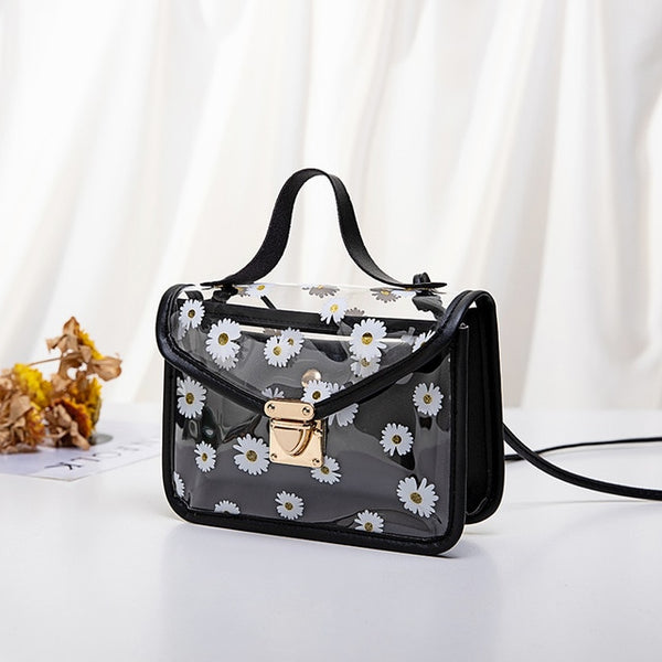 Fashion Women Transparent Daisy Pattern Shoulder Bag