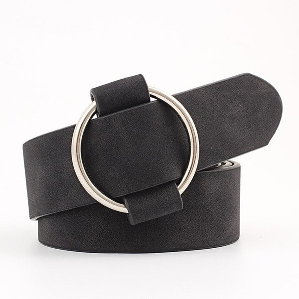 Double Ring Women Belt Fashion Waist Belt PU Leather Metal Buckle Heart Pin Belts For Ladies