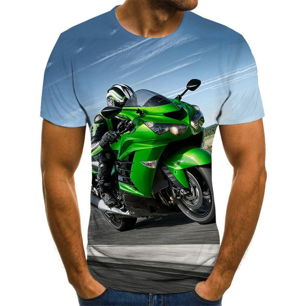T-shirt motorcycle 3D printed men's T-shirt Summer Fashion Tops