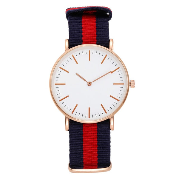 Casual Women's Wrist Watches Nylon Band Gold Silver Ladies Analog Quartz