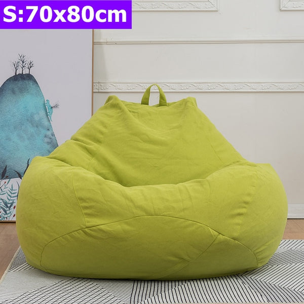 Comfortable Lazy Sofas Cover Chairs without Filler Linen Cloth Lounger Seat