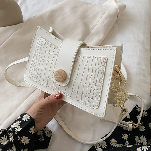 Stone Pattern Pearl Design Small PU Leather Crossbody Bags