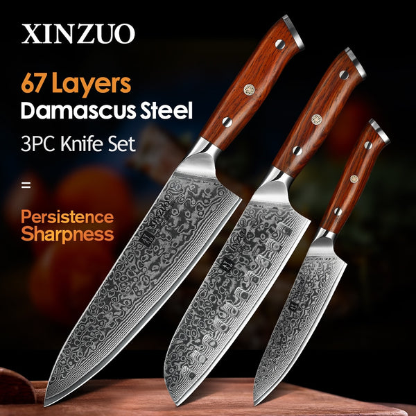 XINZUO 3PCS Pro Kitchen Knife Sets Japanese forged Damascus Steel Chef Santoku Knives