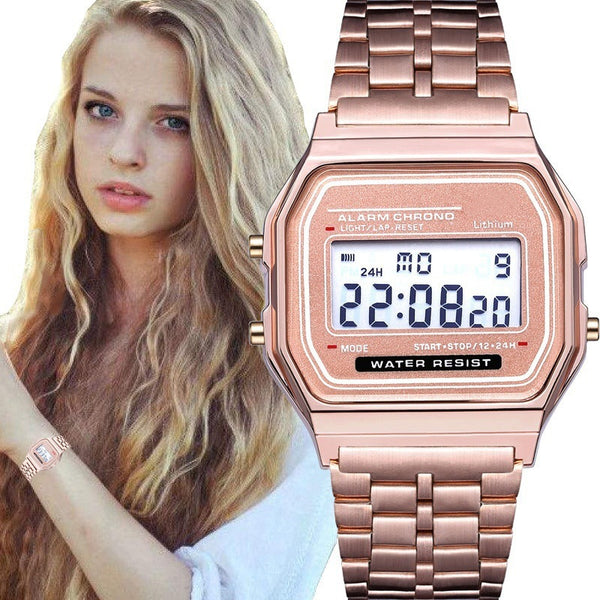 Rose Gold Women Digital Watch Ultra-thin Steel LED Electronic Wrist Watch Luminous Clock Ladies Watch montre femme