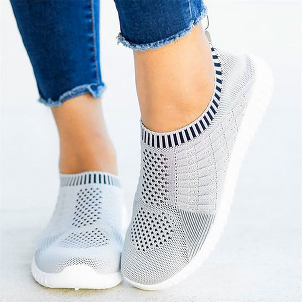 Round Toe light comfortable breathable Flats Women Sneakers Socks Shoes Plus Size