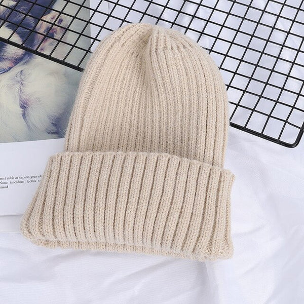New Winter Solid Color Wool Knit Beanie Women Fashion Casual Hat Warm Female Soft Thicken Hedging Cap