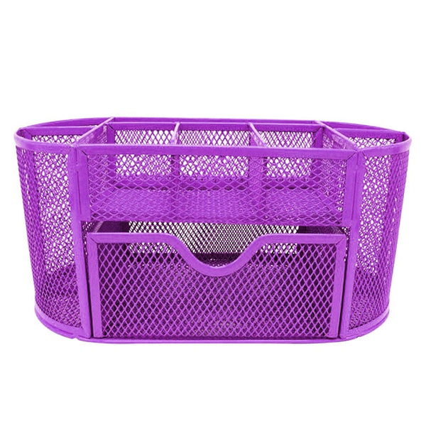 9 Storage Multi-functional Desk Organizer Mesh Metal Pen Holder