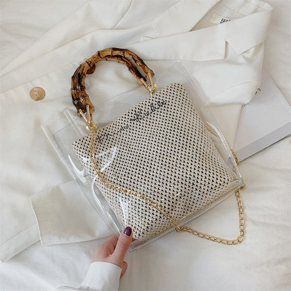 Slub Handle Transparent Bags For Women