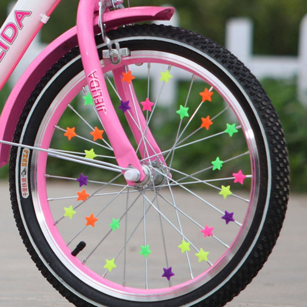 36PCS Bicycle Wheel Spoke Plastic Beads Multi Color Children Clips Decoration Bike Colorful Baby Kid Gifts