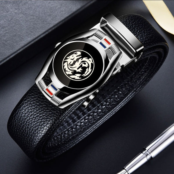 CARTELO Leather Belts for Men 3.5cm Width Sports car Brand Fashion Automatic Buckle Black Genuine Leather