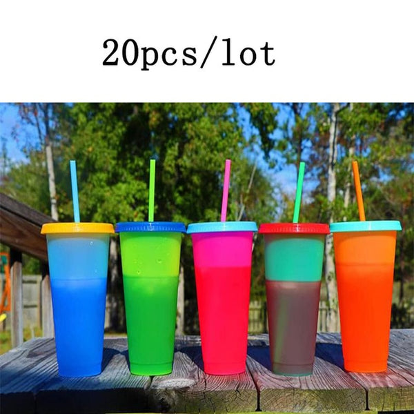 Reusable Plastic Water Bottle Temperature Color Changing Cold Cup