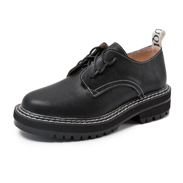 Retro Women Genuine Leather British Style Student Wild Thick Oxford Shoes