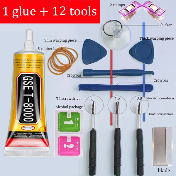 1 glue +12 tools T-8000 Super Transparent Repair Glue Fixing Bonding Stitch Liquid Adhesive